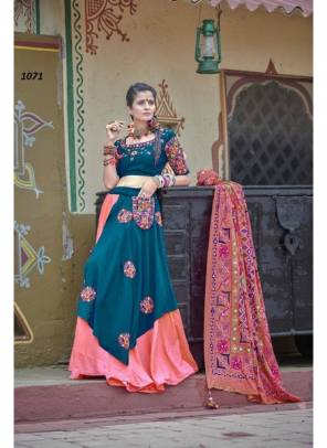 Teal Blue & Pink Soft Cotton Embroidery Work Lehenga