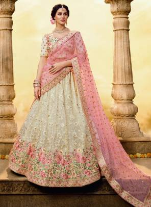 White Georgette Bridal Wear Sequins Work Designer Lehenga Choli