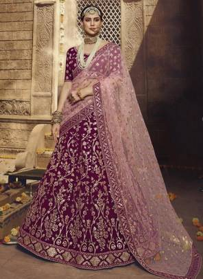 Wine Georgette Bridal Wear Sequins Work Designer Lehenga Choli