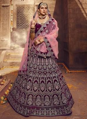 Wine Velvet Bridal Wear Zarkan Work Designer Lehenga Choli