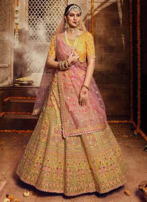 Yellow Organza Bridal Wear Gota Work Designer Lehenga Choli