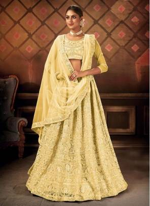 Yellow Net Party Wear Designer Embroidery Work Lehenga Choli