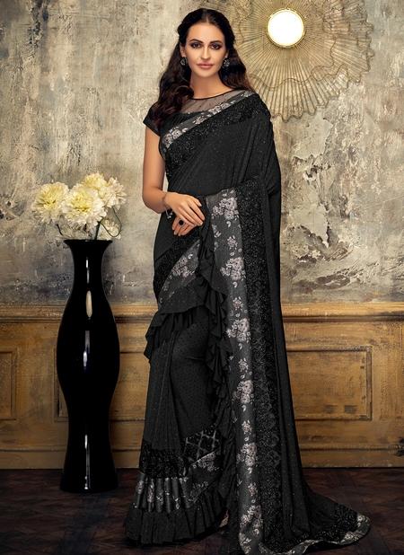 Black Lycra Party Wear Border Work Designer Saree