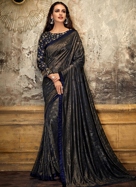 Blue Lycra Party Wear Coading Work Designer Saree