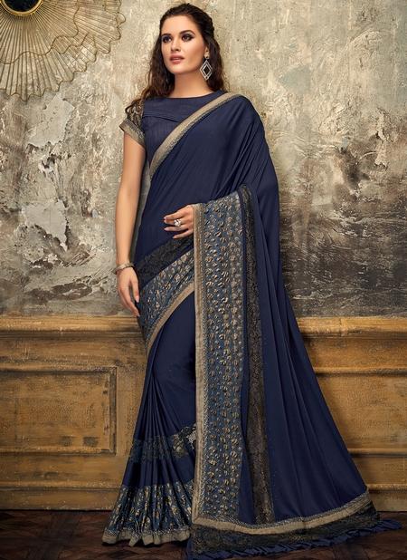 Blue Lycra Party Wear Sequins Work Designer Saree