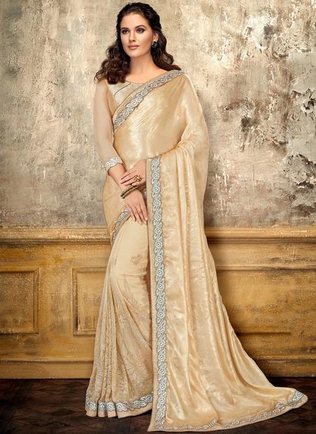 Cream Satin Party Wear Embroidery Work Designer Saree