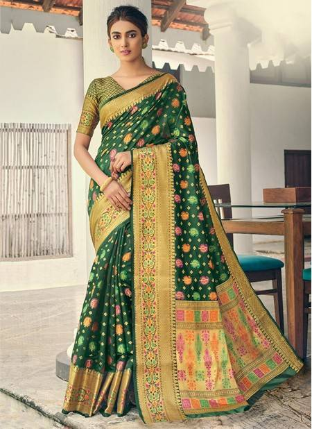 Dark Green Banarasi Silk Festival Wear Designer Handloom Saree