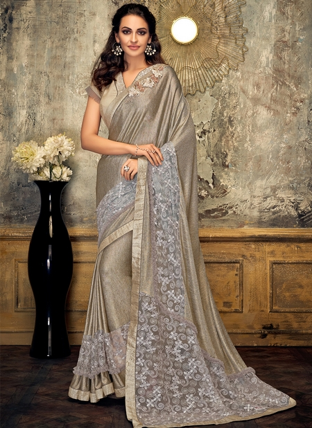 Gold Lycra Party Wear Embroidery Work Designer Saree