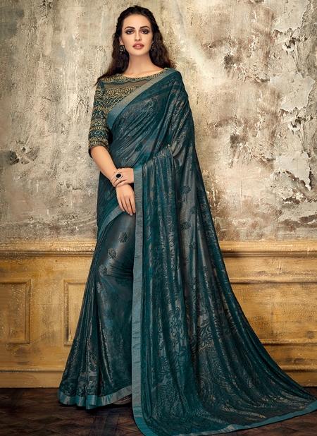 Green Lycra Party Wear Thread Work Designer Saree