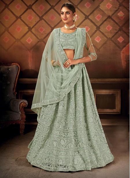 Green Net Party Wear Designer Embroidery Work Lehenga Choli