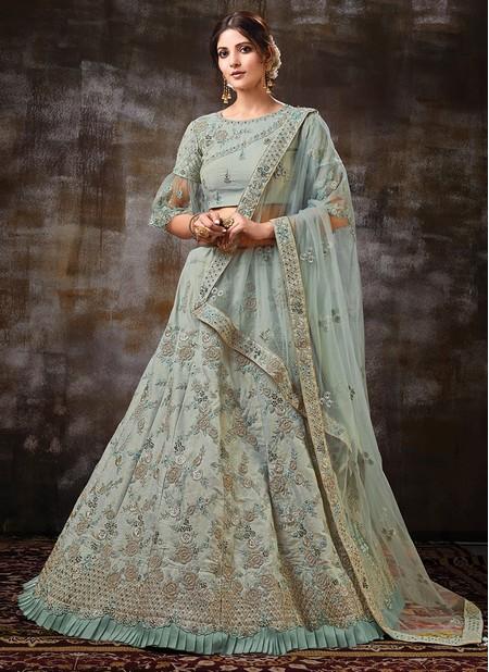 Green Net Wedding Wear Designer Zari Work Lehenga Choli