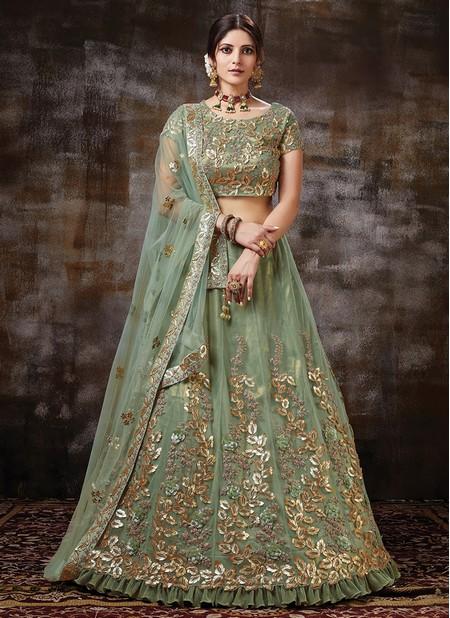 Green Satin Silk Wedding Wear Designer Sequins Work Lehenga Choli