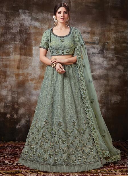 Green Silk Wedding Wear Designer Resham Work Lehenga Choli