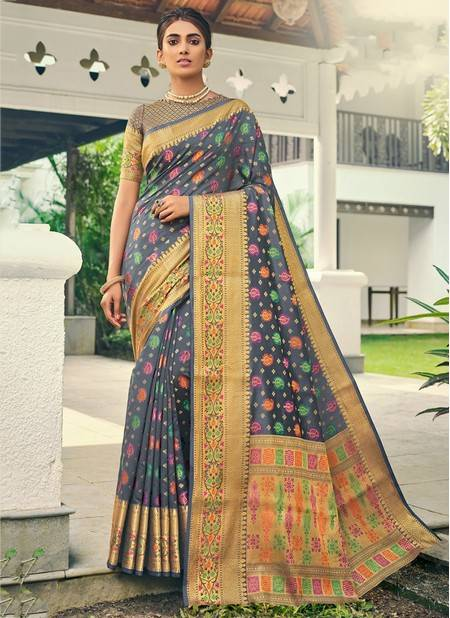 Grey Banarasi Silk Festival Wear Designer Handloom Saree