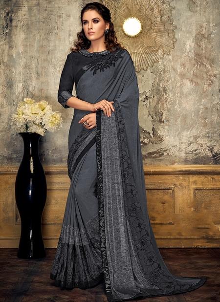 Grey Lycra Party Wear Sequins Work Designer Saree