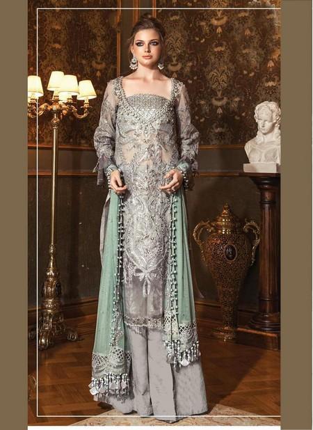Grey Organza Wedding Wear Designer Heavy Embroidery Work Pakistani Suit