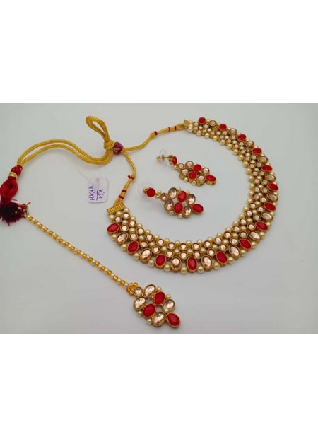 Latest Red Pearls And Kundan Necklace Set