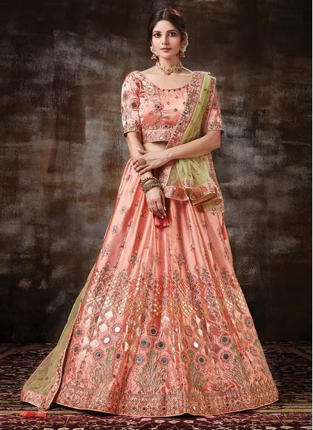 Peach Satin Silk Wedding Wear Designer Cording Work Lehenga Choli