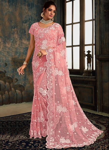 Pink Net Party Wear Designer Zarkan Work Saree