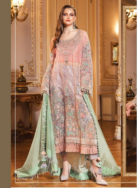 Pink Net Wedding Wear Designer Heavy Embroidery Work Pakistani Suit