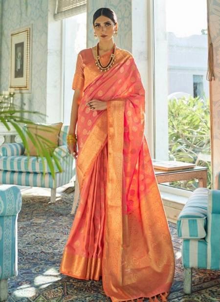 Pink Sana Silk Festival Wear Weaving Saree