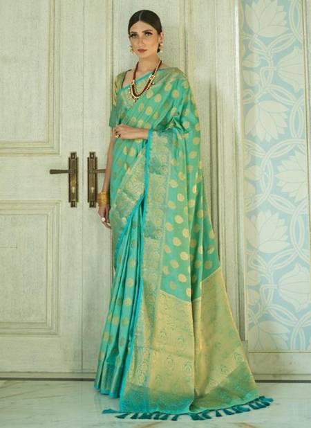 Pista Green Sana Silk Festival Wear Weaving Saree