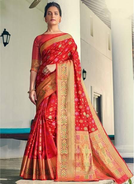 Red Banarasi Silk Festival Wear Designer Handloom Saree