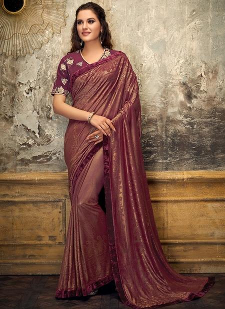 Red Lycra Party Wear Thread Work Designer Saree