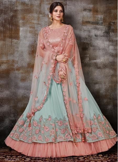 Sky Blue Georgette Silk Wedding Wear Designer Resham Work Lehenga Choli