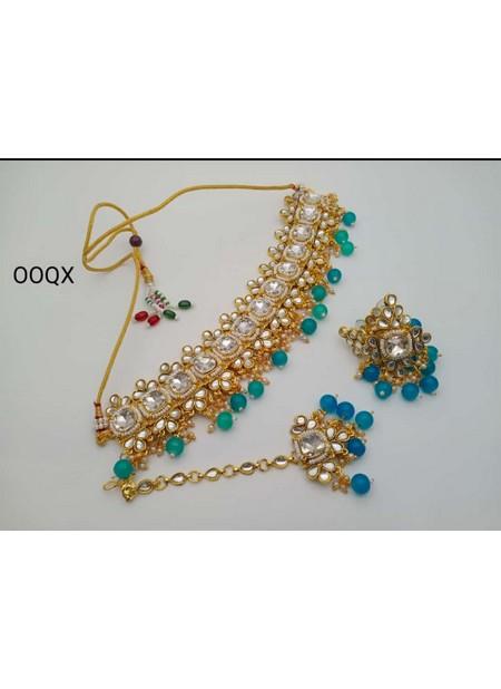 Stylish Firozi Pearl And Kundan Necklace Set